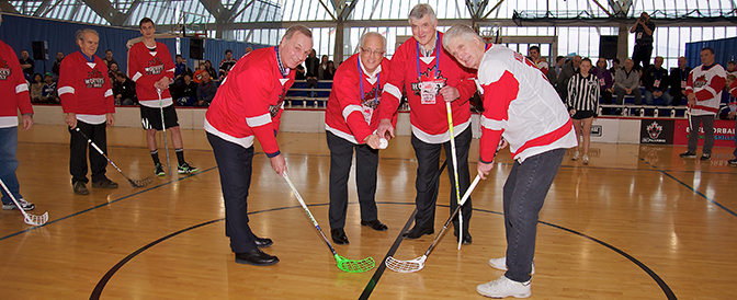 Dropping-the-puck-with-Pat-Quinn-between-Guy-LaFleur-and-Orland-Kurtenbach